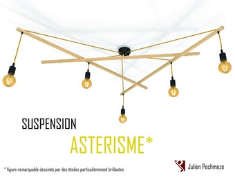 Pendant light Asterism*, mustard and black scandinavian chandelier