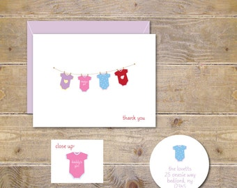 Baby Thank You Cards . Baby Shower Thank You Cards . Baby Girl . Clothesline - Baby Girl Onesies