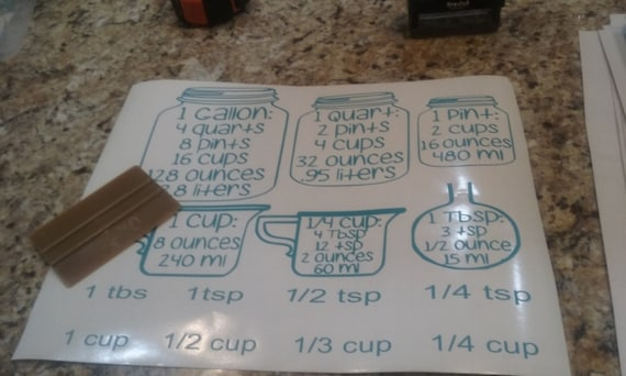 kitchen conversion chart, baking decals, conversion chart, kitchen conversion, kitchen decals, baking decal, measurement mason jar decal,