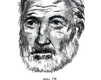 Ernest Hemingway poster print Great American Writer