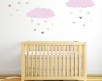 Pink Clouds Rainbow Hearts Wall Decals, Wall Decals Nursery, Baby Wall Decal, Kids Wall Decal, Nursery Wall Decal, Girl Wall Decal