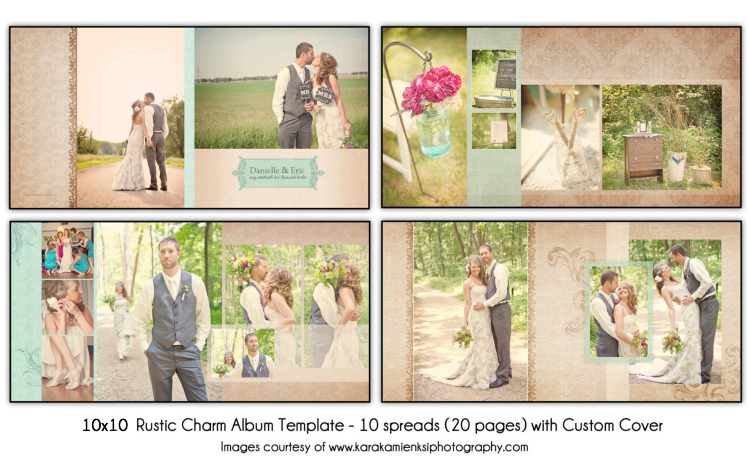 RUSTIC CHARM 10x10 Wedding Album Template 10 spread