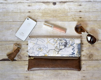 Floral fold over clutch- fold over clutch - fold over purse - floral purse - blue and yellow clutch - leather clutch - faux leather purse