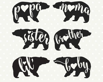 Bear Family DXF file, Bear Silhouette file, Bear Family file, Commercial cut files, SVG die cut file, file for Cricut, Silhouette cut file