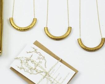"""Textured Brass """"U' Necklace"""