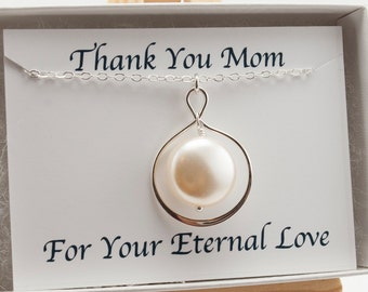 Mom Necklace, Mother of the Bride Gift Pearl Infinity Necklace, Thank You Gift, Cream Pearl Necklace Mother Necklace Swarovski Pearl Jewelry