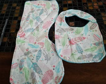 Feathers burp cloth and bib set with minky backing