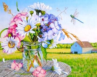 Daisy Wall Art , Mason Jar Painting, Flower Print, Hydrangea Print, Farm Painting,  Mason Jar Art, Dragonfly Art Print, Daisy Painting