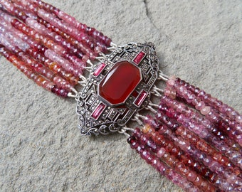 Art Deco Jewelry, Fahrner, Gemstone Bracelet, Deco Brooch Bracelet, Spinel Bracelet, Spinel Gemstones, Carnelian, Marcasite, Bright Pink