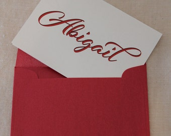 Elegant Script Personalized Note Card - Set of 50