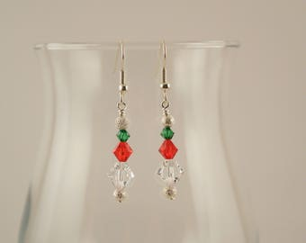 Christmas Swarovski stick earrings, silver accents, #0626