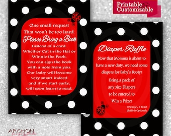 Ladybug Baby Shower Invitation Wording on Back/Insert - Red, Black, and White Accented - Lady Bug - Printable & Personalized - A-00019-b