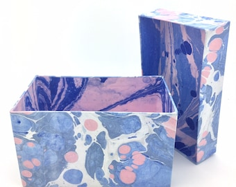 Crisp blue, white and pink hand marbled paper box with dark blue lining