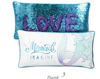 IMAGINE Mermaid Pillow w/ Reversible Sequins Back