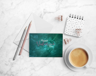 Happy Valentine's Day Greeting Card - A2 Folded Card, Single Card and Envelope