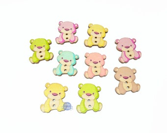 8 buttons bears vintage wooden painted 2.8 cm - 2 holes