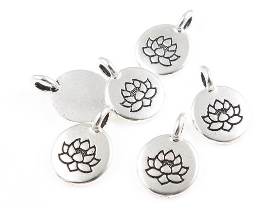 Tiny lotus pendants tierracast lotus charm antique silver like this item audiocablefo