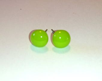 fuse glass Spring Green Stud Earrings