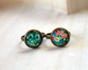 Set 2 rings peacock and flower teal green blue romantic feminine sweet cute