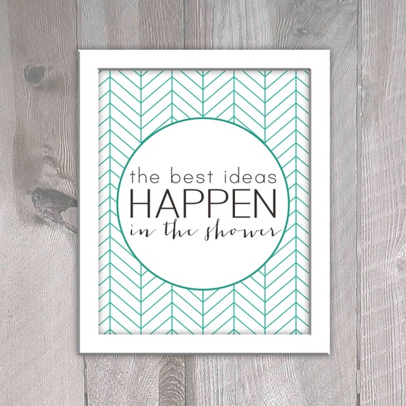 Aqua printable bathroom decor the best ideas happen in the for Bathroom decor etsy
