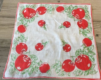Vintage Red Cherries Handkerchief Hanky- hanky,handkerchief, cherry hanky, vintage handkerchief, fruit hanky