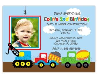 Dump Truck, construction Theme Birthday Party Invitation (You Print)