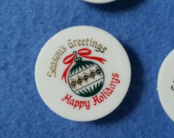 Four Vintage Christmas Magnets, super strong magnets, Christmas ornament design with gold accents, season's greetings happy holidays