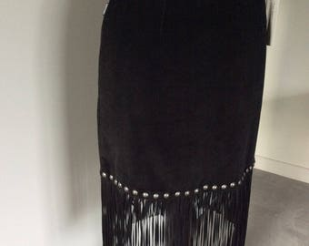 Vintage 90's Moschino Jeans black velvet cord skirt size 10  with stud and fringing detail