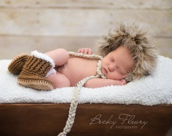 """Hat and Boots - Eskimo Fur Hat and """"UGG"""" inspired boots- Sizes:  Newborn and 0-3 Months - Photo Prop"""