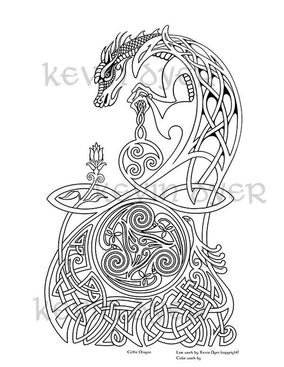 Celtic Fantasy Adult Coloring Pages Digital Download Tree