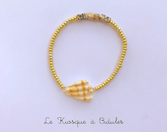 Bracelet coquillage, perles en verre et carrées
