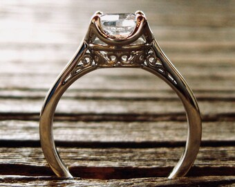 White Sapphire Engagement Ring in 14K White Gold with Diamonds Scrolls and Filligree Size 6