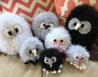 Gray Owl, Christmas Baby Owl, Owl Ornament, Owlet, Black Owl, White Owl, Christmas Owl, Knit Owl, Knit Baby Owl, Owl, Owl Decor, Owl Family