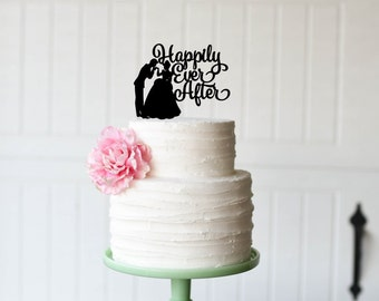 Happily Ever After Wedding Cake Topper with Cinderella &