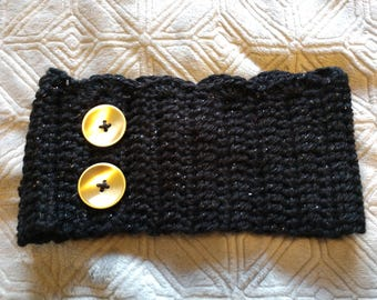 Black Sparkle Headband with Gold Buttons