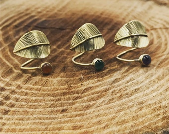 Band-leaf-natural stone rings