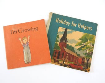 Vintage Mid Century Children's Books - I'm Growing and Holiday for Helpers