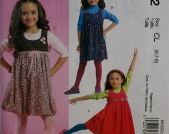 McCall's M5692 Girls Dress Sewing Pattern New/Uncut Size 6, 7, 8