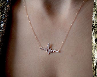 Mother's day gift Heartbeat necklace 10k,ECG necklace, Pulse pendant,Diamond heartbeat initial necklace 10k,Heartbeat necklace.