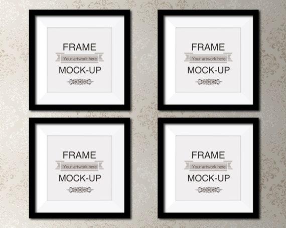 Square poster mockup, four frames, black frames, picture mount ...