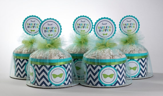 Diaper Cake Set - Darling Dapper Mini Diaper Cake Set - Bow Tie Theme Diaper Cake - Baby Shower Centerpeice -  Darling Dapper Baby Shower