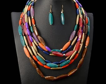 Multi Strand African Necklace Set,  Multi Strand Bead Necklace, Multi Color Necklace Set