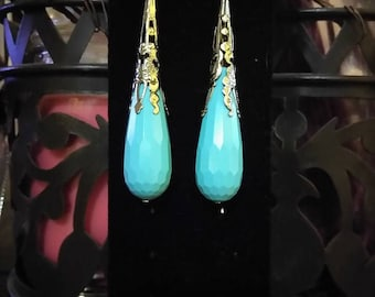 Turquoise Faceted Drop Pendants earrings ,
