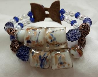 "Bracelet beaded double strand ""blue copper mix"" glass beads"