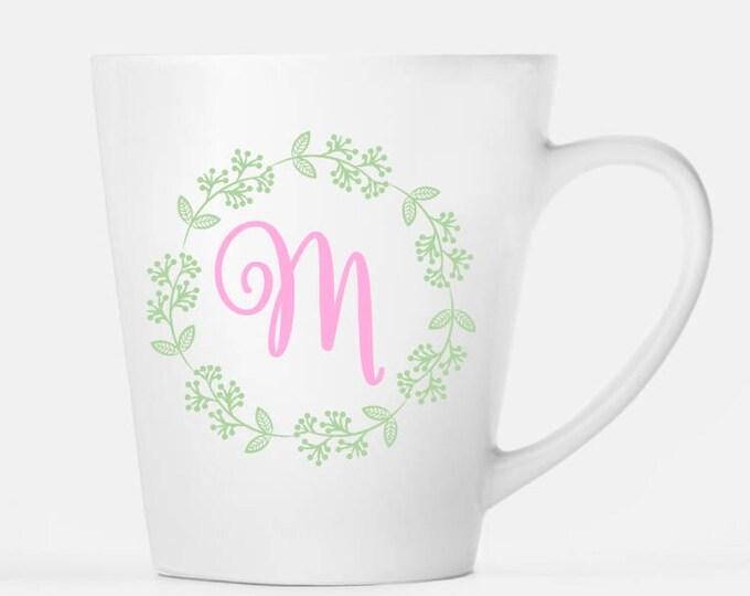 Monogram Mug, Monogram and Wreath Ceramic Latte Mug, 12 oz