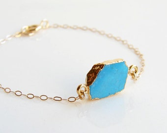 Turquoise Slice Bracelet. Gold Plated Electroplated Edge. Everyday Jewelry. Simple Modern Jewelry by PetitBlue