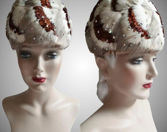 Vintage 1950s Hat | Feathered Hat | Rhinestone Hat | New Look | Rockabilly | Femme Fatale | 50s Hat
