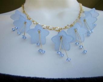 Aquamarine Necklace -Lucite Flowers -March Birthday -Swarovski Crystals -Free Shipping USA -GARDEN PARTY