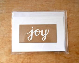 Joy Christmas Holiday Notecard - Custom Made to Order Hand Drawn Folded Note Card / Greeting Card