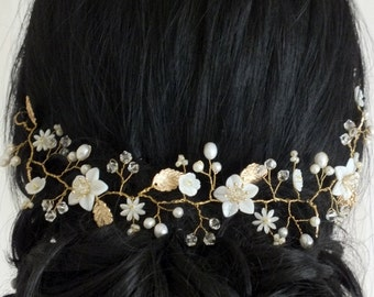 Anastasia - Vintage Style Mother Pearl Flower, Freshwater Pearl,Gold Leaves and Crystal Hair Vine